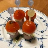 魚肉ソーセージとクリチ、ミニトマトのピンチョス