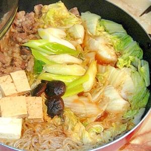 安い肉でプチ贅沢!簡単割したで作るすき焼き風鍋!