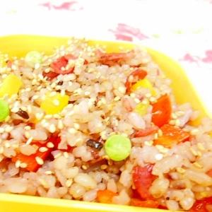 雑穀米de❤ビアハムとパプリカの彩り炒飯❤