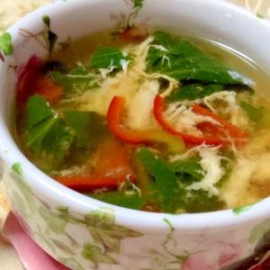 生姜ピリッと♪小松菜とパプリカのコンソメスープ