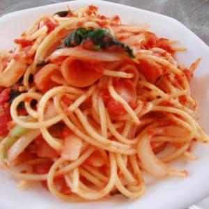 ほうれん草とウインナーのトマト・スパゲティ