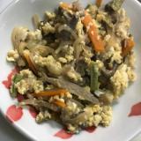 牛肉の甘辛煮の卵とじ炒め(^O^)