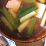 海老だしで、豆腐とネギのお味噌汁