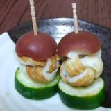 お弁当に☆手毬ちくわときゅうりと梅の飾り串