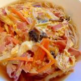 ハム野菜卵とじ蕎麦