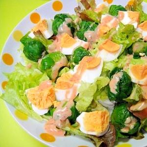 芽キャベツとゆで卵のサラダ★明太子ドレッシング