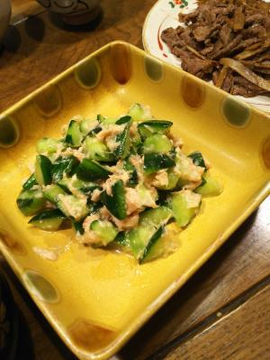 超簡単 材料2個 胡瓜のツナ味噌わさび和え