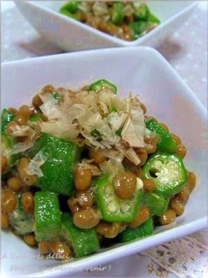 夏野菜のオクラと納豆のおかか和え