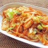 簡単&節約おかず♪鶏むね肉と野菜のキムチ炒め