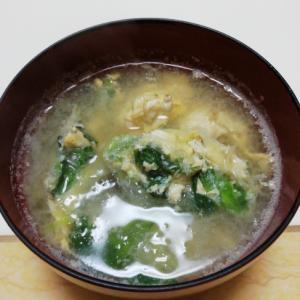 サラダリーフとキャベツの卵とじ麦味噌汁