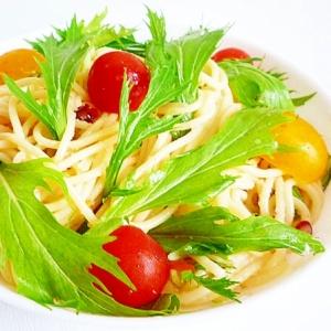 水菜とプチトマトとアンチョビの冷製パスタ