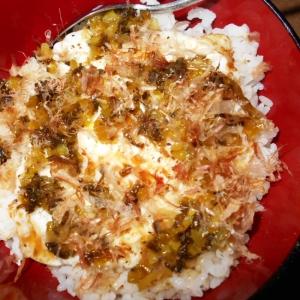 高菜と干しシラスの目玉焼き丼
