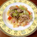 卵とハムのチャーハン~肉野菜あんかけのせ