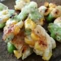 冷凍食品で簡単枝豆とコーンのかき揚げ