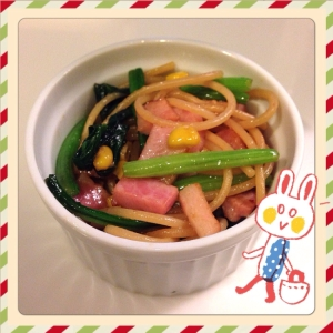 お弁当用☃バター醤油のミニパスタ(*ノ3ノ)
