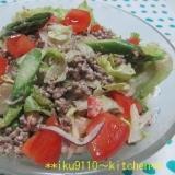 挽肉とアスパラ3種レタスのマスタードマヨサラダ