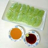 ☆刺身こんにゃく☆辛子酢味噌&わさび醤油添え