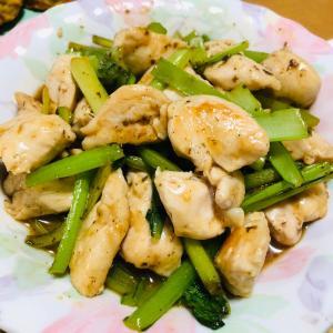 ささみと小松菜の梅炒め