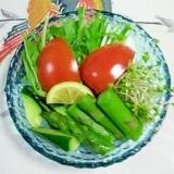 アスパラと水菜のサラダ~♫