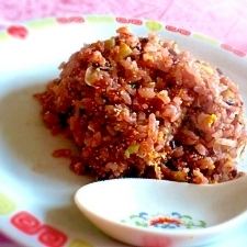 雑穀米で明太子チャーハン