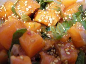サーモンの漬け、韓国風。