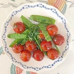 ミニトマト、えんどう、豆苗の炒め物
