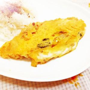 オリーブ風味♪野菜炒めのリメイクオムレツ