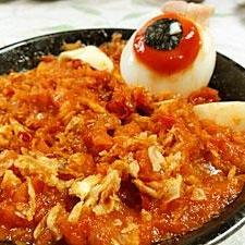 目玉おやじの地獄風呂-卵のピリ辛ソース煮