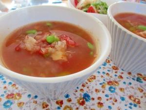枝豆とトマトのスープ