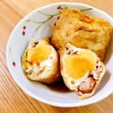 簡単レンジ・あと1品☆半端食材と卵の巾着煮