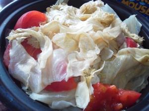 キャベツとトマトのホットサラダ