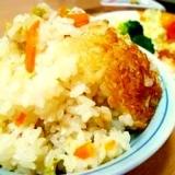 鶏ささみとキャベツの簡単炊き込みご飯