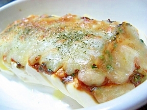 塩豆腐の味噌チーズ焼き