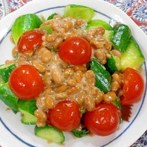 きゅうり・プチトマトの納豆サラダ