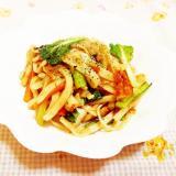 ウスター&味噌風味♪小松菜と竹輪の焼き蕎麦