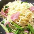 男の人にも❤小松菜とウインナーでペペロンチーノ♪