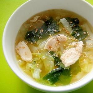 白菜とささみワカメの中華風スープ