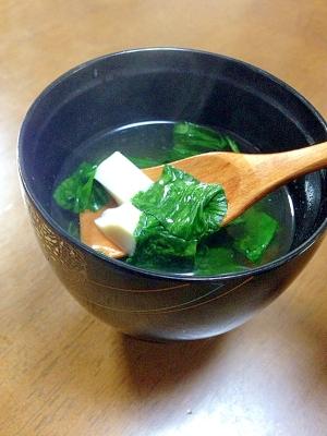 ほうれん草と豆腐のお吸い物
