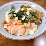秋鮭の納豆ご飯