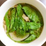 モロヘイヤと舞茸の生姜中華スープ