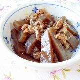 コンニャクと牛肉の甘辛炒め煮