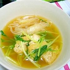 水菜と油揚げと糸蒟蒻のさっと煮~(/・ω・)/☆