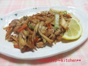 鶏ひき肉と舞茸野菜の生姜ポン酢炒め
