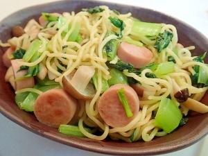魚肉ソーセージと小松菜としめじの和風焼きそば♬