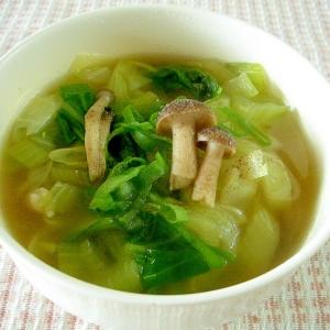 チンゲン菜としめじのスープ