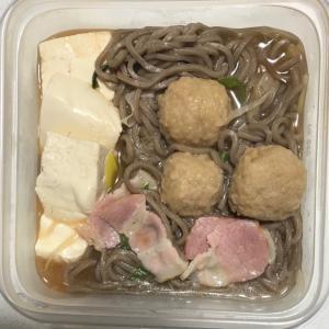 豆腐ネギ鶏団子ベーコギの蕎麦