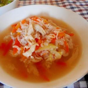 人参と胸肉のスープご飯