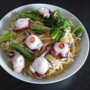 たこと青菜のスパゲッティー