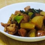 鶏肉と大根と小松菜の甘辛煮