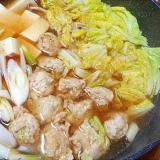 白菜とゴボウ入り鶏団子のあったか鍋